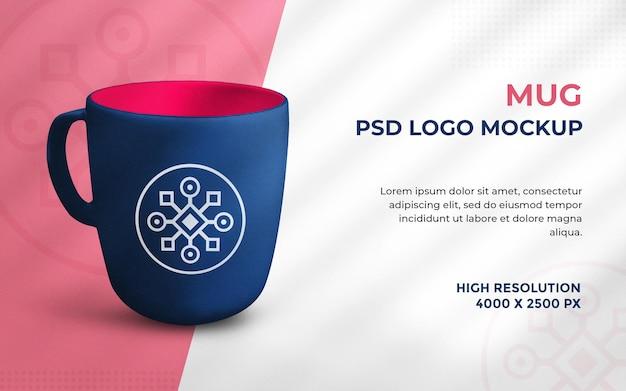Maquete do logotipo na caneca renderizada em 3d