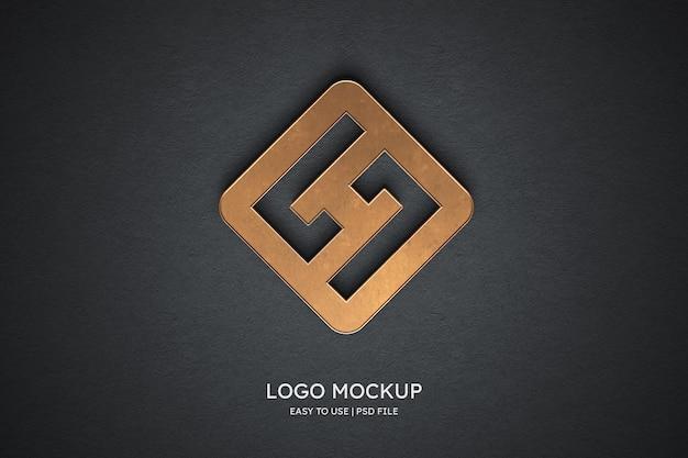 Maquete do logotipo na parede cinza