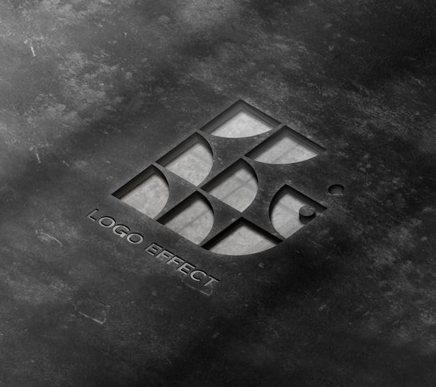 Maquete do logotipo na parede de concreto