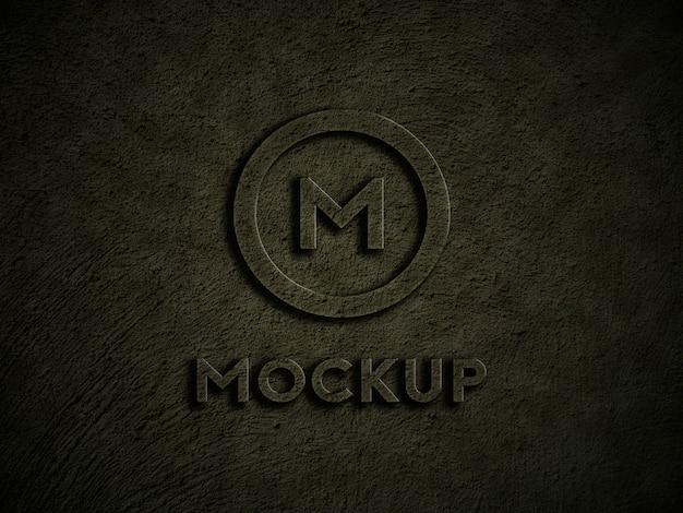 Maquete do logotipo na parede rústica escura
