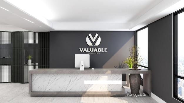 Maquete do logotipo na recepção do escritório