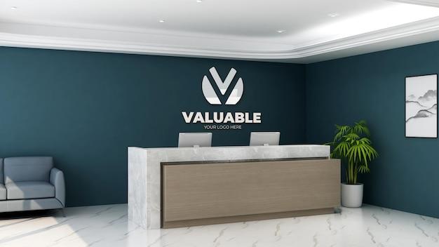 Maquete do logotipo na recepcionista do escritório com design de interiores minimalista e elegante