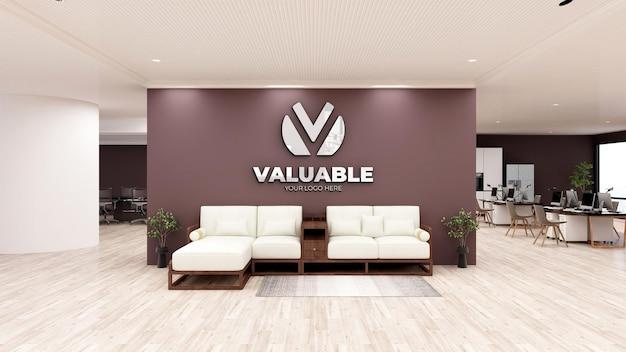 Maquete do logotipo na sala de espera do escritório com design de interiores em madeira