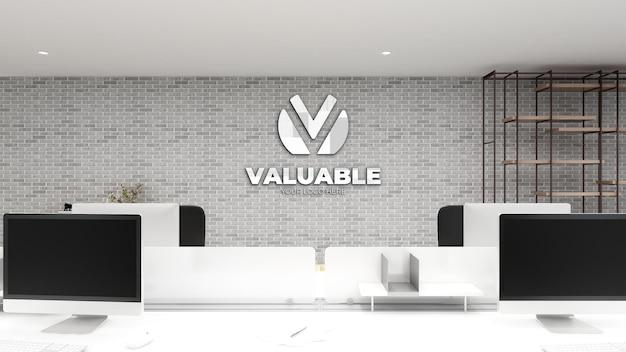 Maquete do logotipo na sala de negócios do espaço de trabalho do escritório