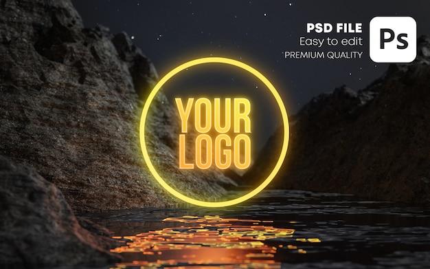 Maquete do logotipo neon logo water terrain night stars