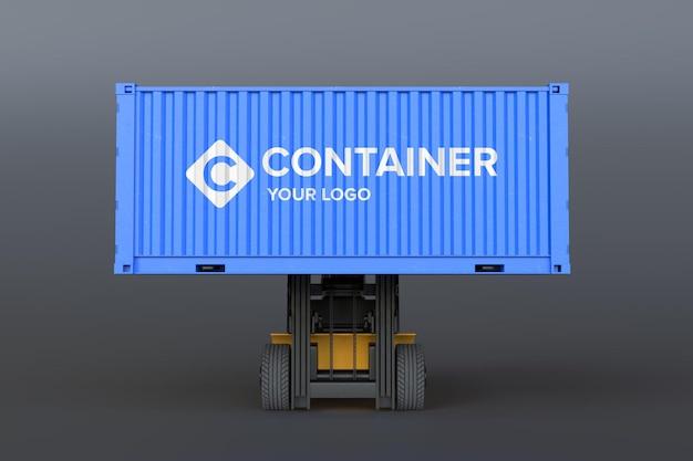Maquete do logotipo no contêiner de carga