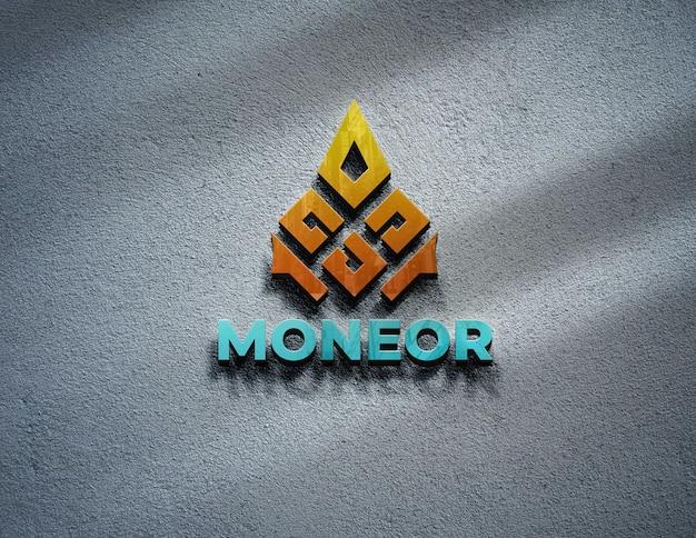 Maquete do logotipo no design da parede