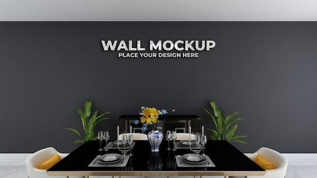 Maquete do logotipo prateado na parede da decoração do restaurante