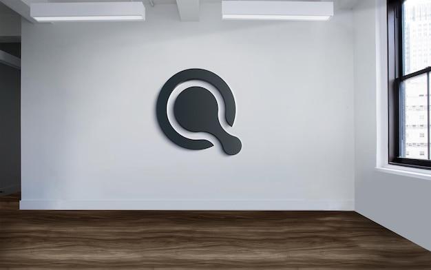 Maquete do logotipo preto dos sinais de parede