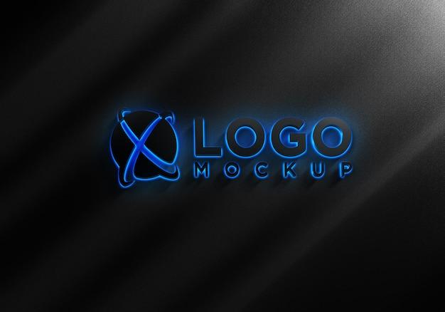Maquete do logotipo preto e azul com efeitos de luz