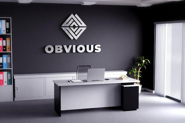 Maquete do logotipo sinal realista sala de escritório parede preta