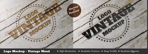 Maquete do logotipo vintage realista com tinta ou entalhado