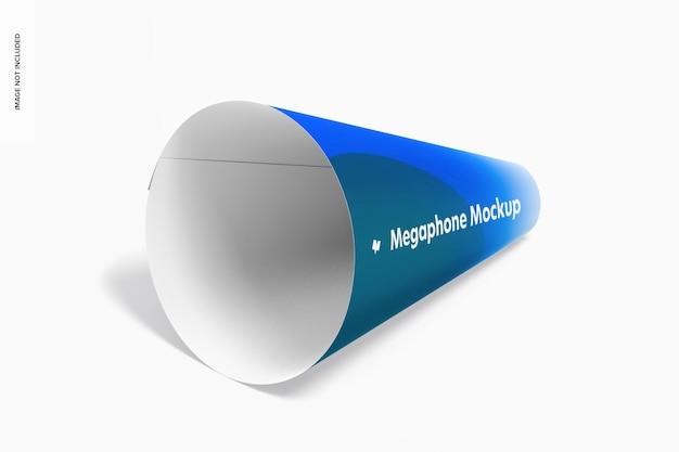 Maquete do megafone de papel, vista esquerda isométrica