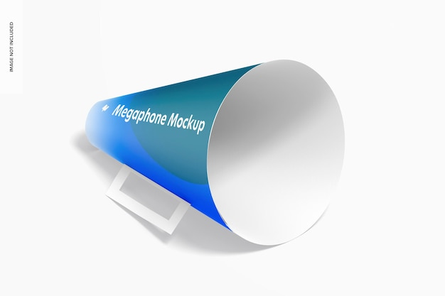 Maquete do megafone de papel, vista isométrica