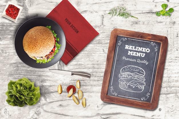 Maquete do menu burger