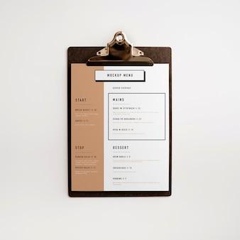 Maquete do menu da área de transferência