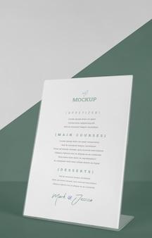 Maquete do menu da mesa