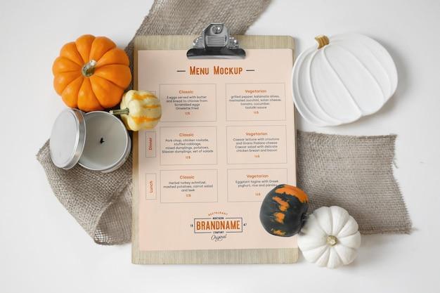 Maquete do menu do restaurante a4