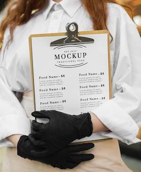 Maquete do menu do restaurante na área de transferência