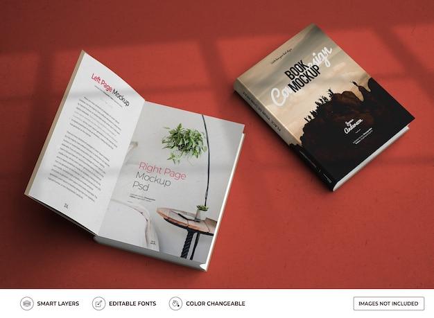 Maquete do modelo de design de livro de capa dura aberto