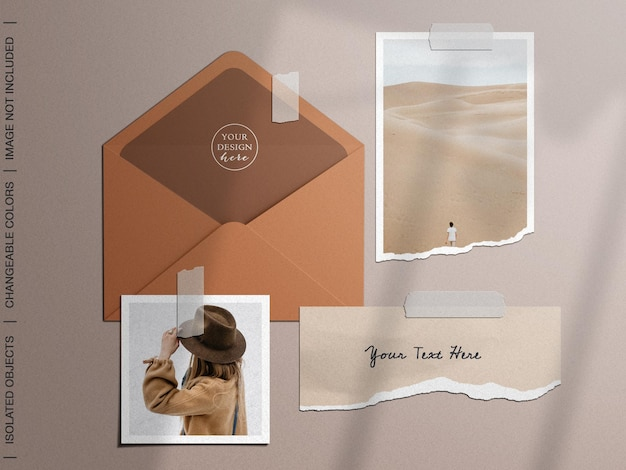 Maquete do moodboard com envelope colado com fita adesiva, moldura rasgada, papel cartão, colagem