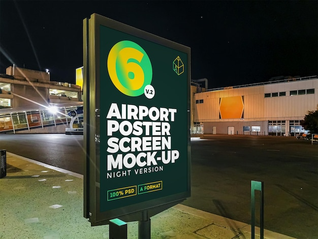 Maquete do outdoor de rua da airport night