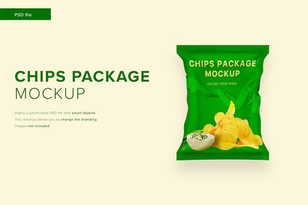Maquete do pacote de chips em estilo de design moderno