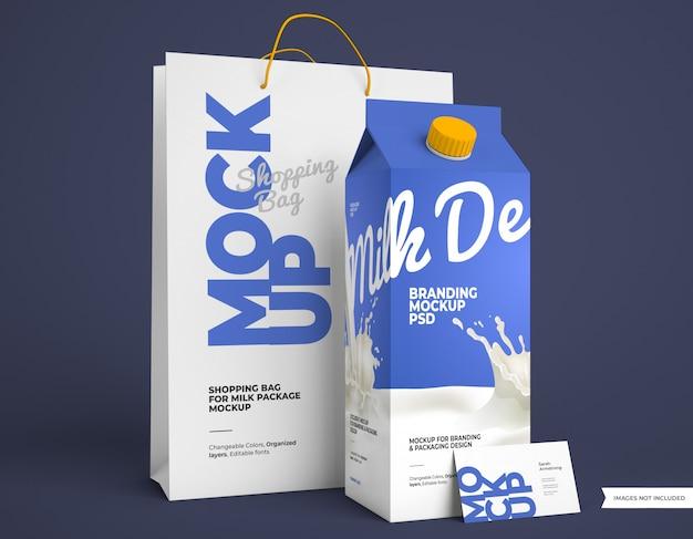 Maquete do pacote de leite com sacola de compras e cartão de visita