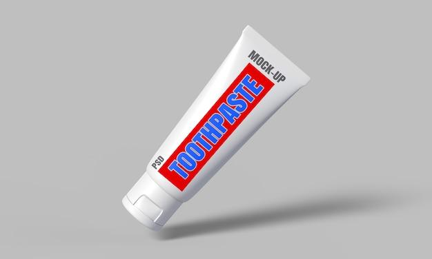 Maquete do pacote de pasta de dente em renderização 3d para design de produto Psd Premium