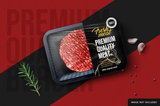 Maquete do pacote de produtos de carne crua de hambúrguer