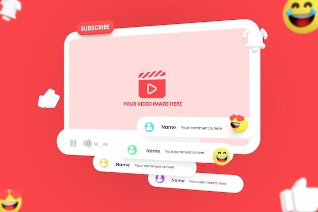 Maquete do player de vídeo do youtube com botão de inscrição