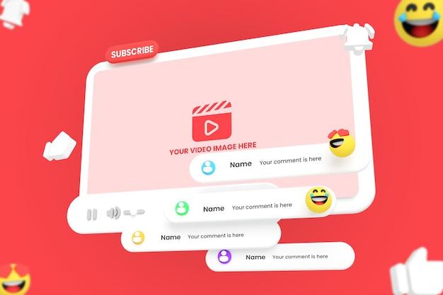 Maquete do player de vídeo do youtube em estilo 3d