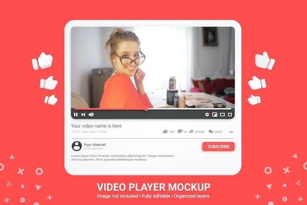 Maquete do player de vídeo do youtube para mídia social 3d premium psd