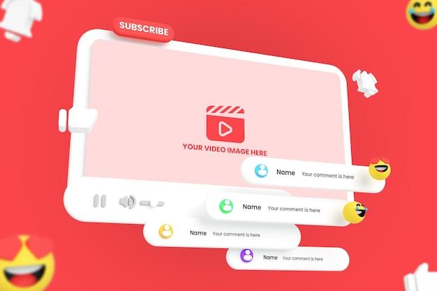 Maquete do player de vídeo do youtube para mídia social