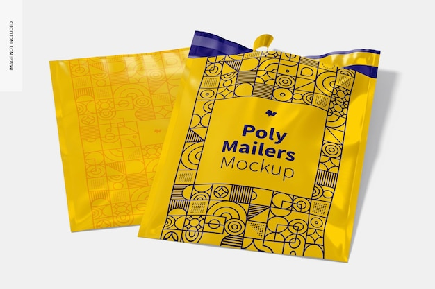 Maquete do poly mailers, aberto e fechado