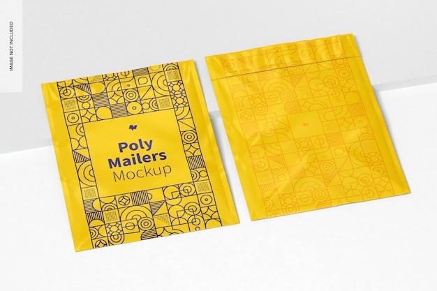 Maquete do poly mailers, visão em perspectiva