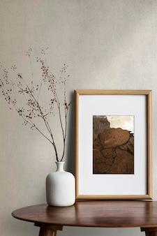 Maquete do porta-retrato psd de mesa na mesa da sala de estar