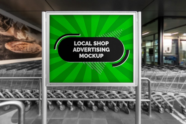 Maquete do pôster horizontal de publicidade ao ar livre de rua cidade em moldura de prata na loja local