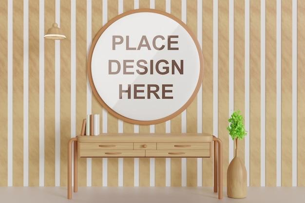 Maquete do quadro do círculo na decoração da parede de madeira