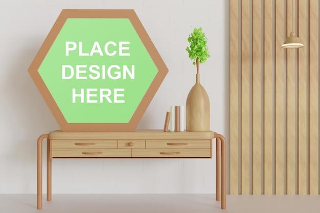 Maquete do quadro hexágono na mesa de madeira