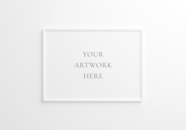 Maquete do quadro horizontal branco na parede branca. renderização 3d.