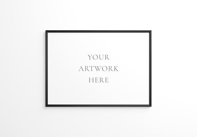 Maquete do quadro horizontal preto na parede branca. renderização 3d.