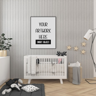 Maquete do quadro, quarto de crianças com quadro vertical preto, interior escandinavo