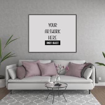 Maquete do quadro, sala com moldura horizontal preta, interior escandinavo