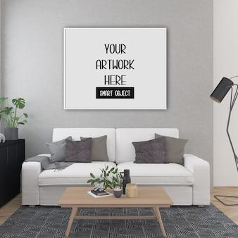 Maquete do quadro, sala com quadro horizontal branco, interior escandinavo