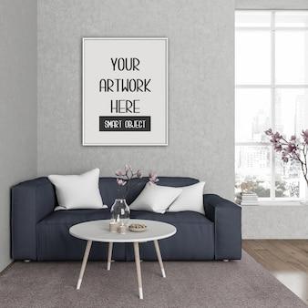 Maquete do quadro, sala com quadro vertical branco, interior escandinavo