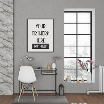 Maquete do quadro, sala com quadro vertical preto, interior escandinavo