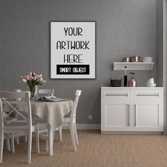 Maquete do quadro, sala de cozinha do país com quadro vertical preto, interior retrô