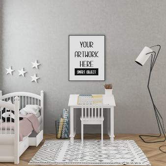 Maquete do quadro, sala de crianças com quadro vertical preto, interior escandinavo