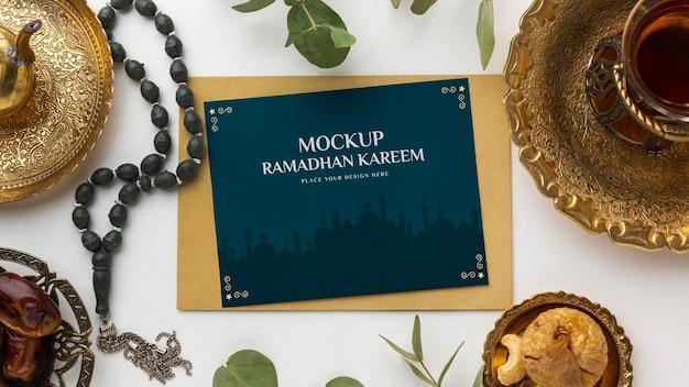 Maquete do ramadan kareem vista superior